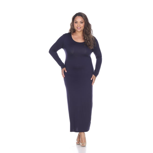 Shop White Mark Plus Size Long Sleeve Maxi Dress On Sale Free