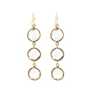 22k Yellow Goldplated White Quartz Drop Earrings