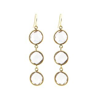 Alchemy Jewelry Handmade 22k Gold Overlay Sterling Silver Clear Quartz Drop Gemstone Earrings Set