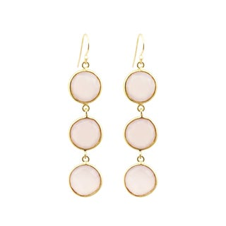 Yellow Gold Overlay Pink Chalcedony Drop Earrings
