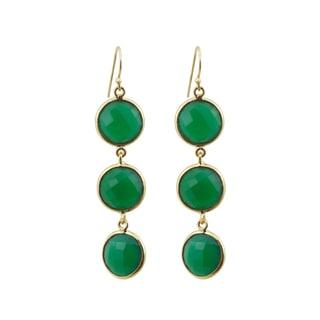 Gold Overlay Green Onyx Drop Earrings