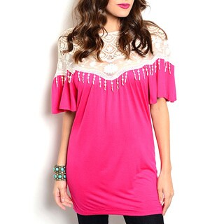 JED Women's Pink Mesh and Lace Top
