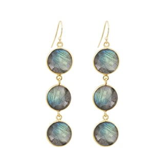 22k Yellow Goldplate Labradorite Drop Earrings