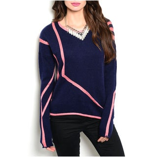 JED Women's Navy/Pink Acrylic/Wool/Polyester Knit Sweater