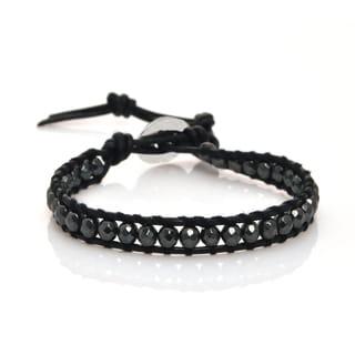 Leather Hematite Single Wrap Bracelet