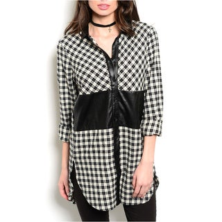 JED Women's Long Length Plaid Shirt with Faux Leather Detailing