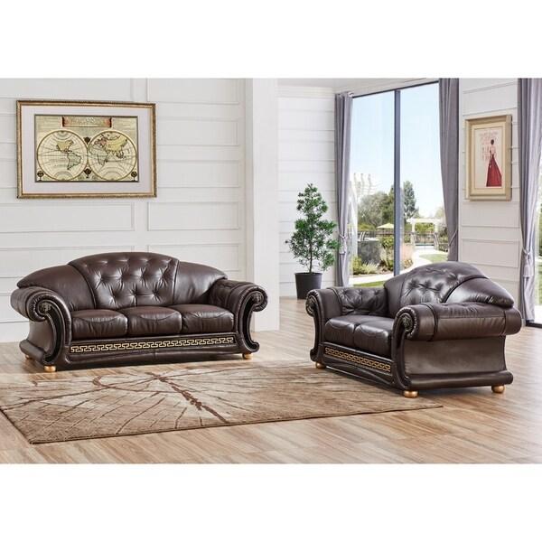 Shop LUCA Home 2-piece Brown Classic Contemporary Living Room Set ...