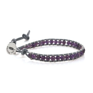 Leather Amethyst Single Wrap Bracelet