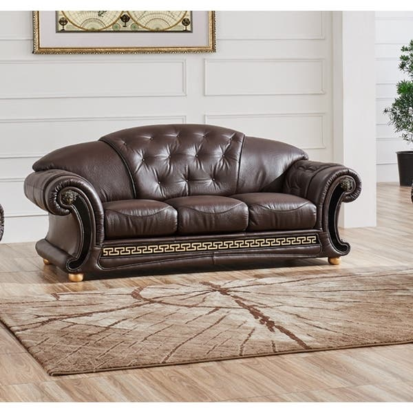 LUCA Home Brown Classic Contemporary Leather Sofa