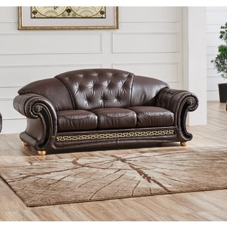 LUCA Home Split Brown Leather Sofa