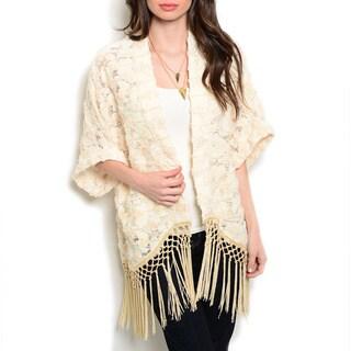 JED Women's Knit Kimono Fringe Cardigan