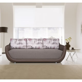 Luca Home Grey and Brown Fabric Sofa Bed