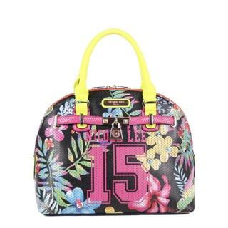 Nicole Lee Black Faux Leather and Nylon Numeric 15 Print Satchel Handbag