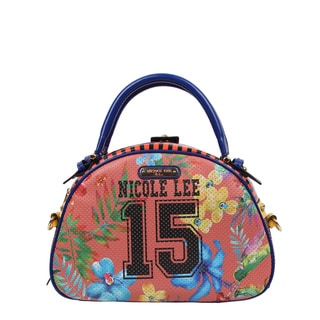 Nicole Lee Numeric 15 Multicolor Faux-leather/Nylon Print Bowler Handbag
