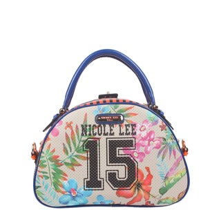 Nicole Lee Numeric 15 Mulicolor Faux Leather, Nylon Print Bowler Handbag