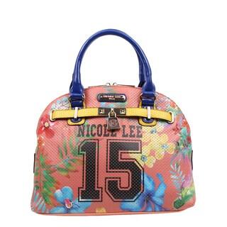 Nicole Lee Numeric 15 Multicolor Faux Leather, Nylon Print Satchel Handbag
