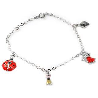 De Buman 925 Silver Enamel Beatle and Rabbit Charm Bracelet 5.26 inch
