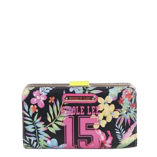 Nicole Lee Black Faux Leather Numeric 15 Print Wallet