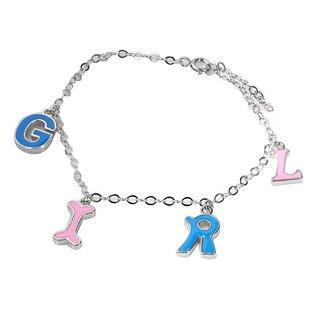 De Buman 925 Silver Enamel GIRL Charm Bracelet 5.8 inch