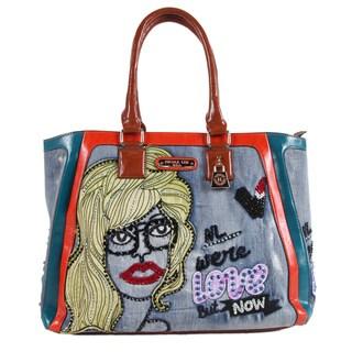 Nicole Lee Jodie Multicolored Faux Leather and Nylon Blonde Print Shoulder Handbag