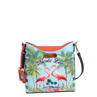 Nicole Lee Women's Multicolored Faux-leather and Nylon Tropical Flamingo-print Crossbody Handbag