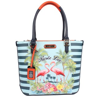 Nicole Lee Tropical Flamingo Print Tote Bag