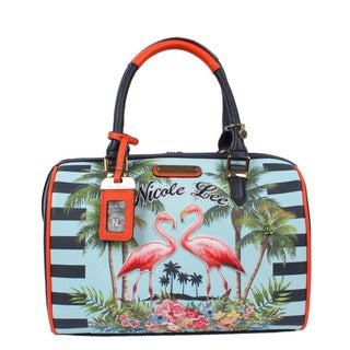 Nicole Lee Tropical Flamingo Print Boston Bag