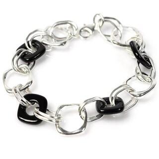 De Buman Sterling Silver Black Agate Bracelet