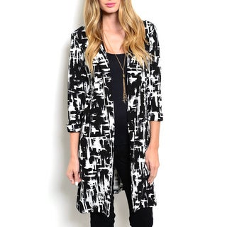 JED Women's Black/White Polyester/Spandex Printed Extra-long-length Blazer