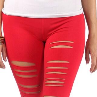 Hadari Womens Distressed White Mid Slimfit Rise Legging