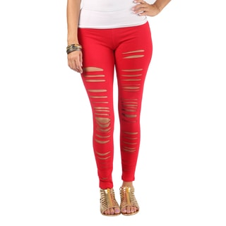 Hadari Womens Distressed White Mid Slimfit Rise Legging