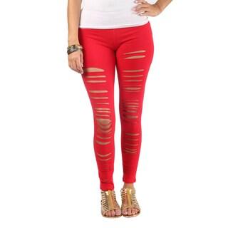 Hadari Womens Distressed White Mid Slimfit Rise Legging (2 options available)