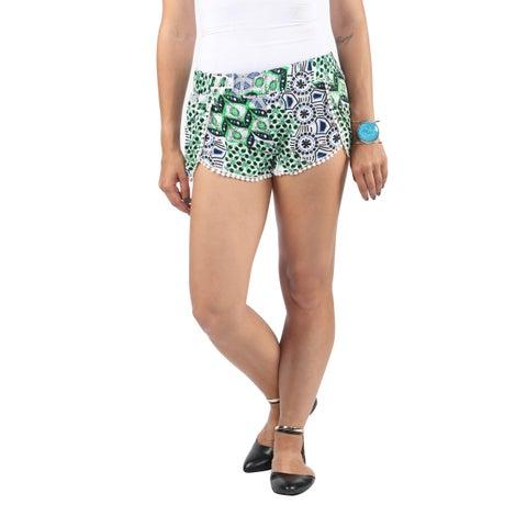 Hadari Womens Pom Pom Loosefit Shorts with tropical Blue Black Emerald Geometric Pattern Print