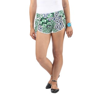 Hadari Womens Pom Pom Loosefit Shorts with tropical Blue Black Emerald Geometric Pattern Print