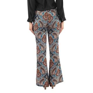 Hadari Womens Orange Flare Paisley Print Pants