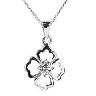 De Buman 0.50ctw CZ Four Leaf Clover Solid 925 Silver Necklace 18 INCH