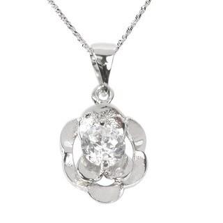 De Buman 0.50ctw Cubic Zirconia Solid 925 Silver Necklace 18 INCH