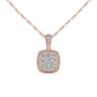 De Couer 10K Rose Gold 1/2ct TDW Diamond Cluster Halo Necklace - Pink