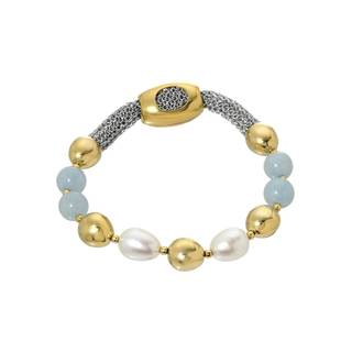 Adami & Martucci Yellow Gold over Silver Freshwater Pearl Bracelet