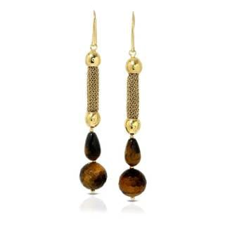 Adami & Martucci Gold over Silver Tiger's Eye Earrings