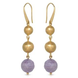 Adami & Martucci Gold over Silver Triple Bead Amethyst Earrings