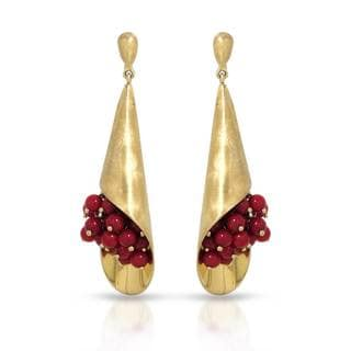 Adami & Martucci Gold over Silver Coral Earrings