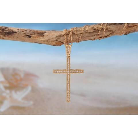 De Couer IGI Certified 10K Rose Gold 1/6ct TDW Diamond Cross Necklace - Pink