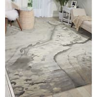 Nourison Prismatic Silver Cloud Area Rug - 5'6 x 7'5