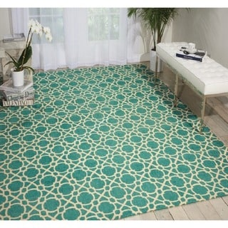 Waverly Color Motion Perfect Fit Teal Rug by Nourison (5' x 7')