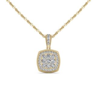 De Couer 10K Yellow Gold 1/2ct TDW Diamond Cluster Halo Necklace (H-I, I2)