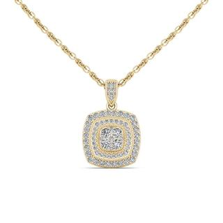 De Couer 14K Yellow Gold 1/2ct TDW Diamond Halo Necklace (H-I, I2)