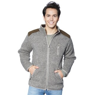 Laundromat Men's Brown Wool Sweater with Faux-suede Shoulder/Elbow Patches