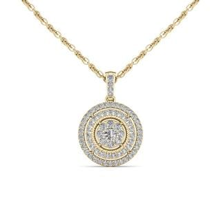 De Couer 10K Yellow Gold 1/2ct TDW Diamond Halo Necklace (H-I, I2)