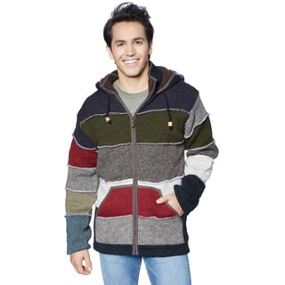 Laundromat Men's Black Wool Patchwork Sweater